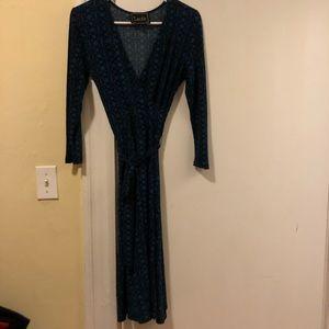 Faux Wrap Dress Black&Blue Pattern
